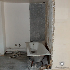 démolition de l'ancienne salle de bain